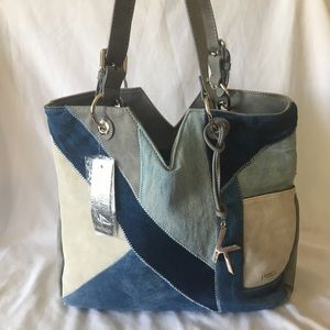 Kensie Denim & Faux Leather Tote Bag, NWT